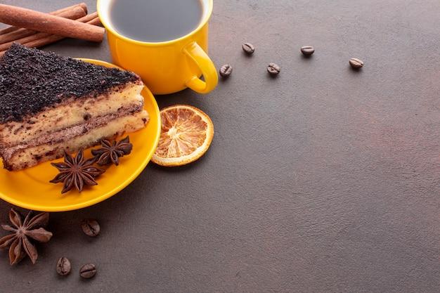 Tiramisu and coffee copy space Free Photo