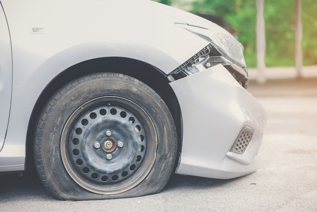 Tire deterioration is the cause of the accident. Premium Photo