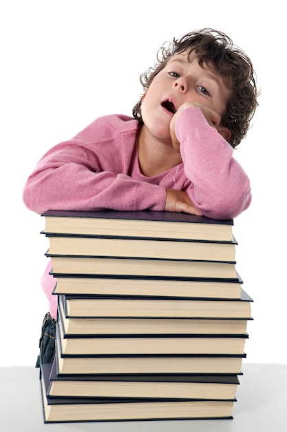 Tired child student on a over white background Premium Photo