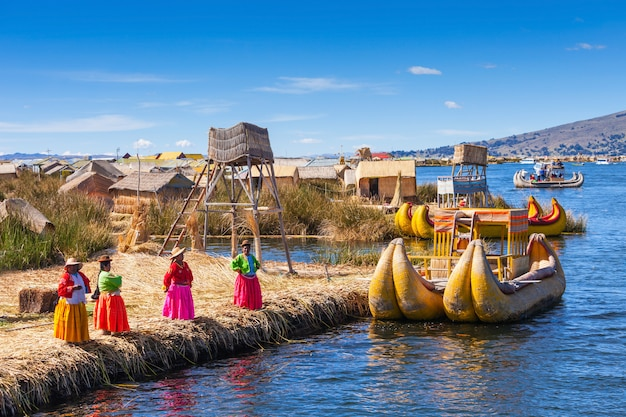 Titicaca lake near puno city in peru Premium Photo