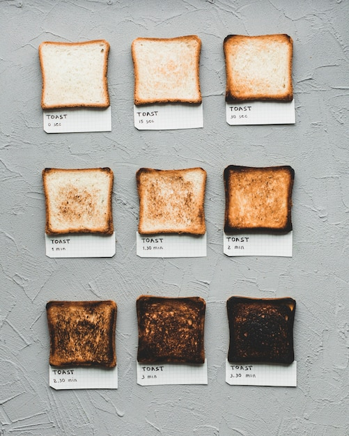 Toasted bread showing time of making Free Photo