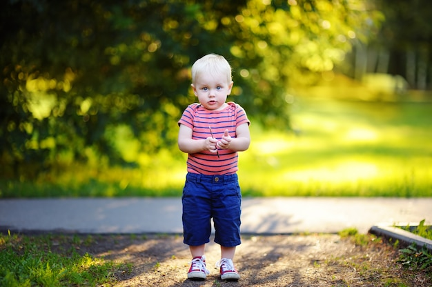 Toddler boy walking in the park at the sunny day Premium Photo