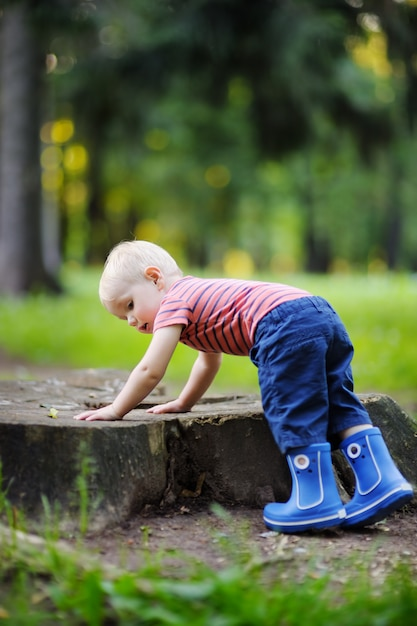 Toddler playing at the summer or autumn day Premium Photo