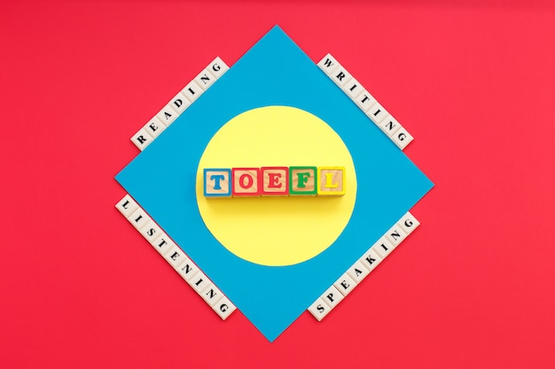 Toeflという単語とtoeflを読む、聞く、書く、話す Premium写真
