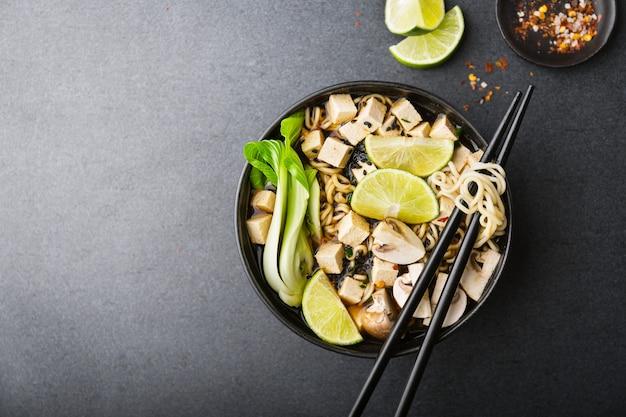 Tofu asian vegetarian soup served in bowl Premium Photo