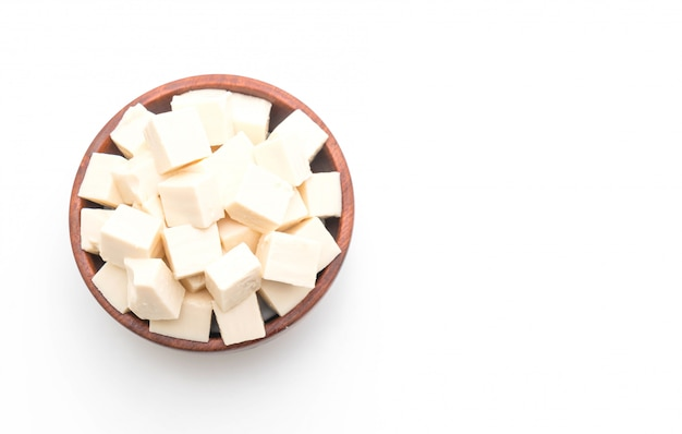 Tofu on white background Premium Photo