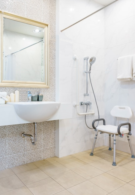 Toilet for the elderly and the disabled for support the body and slip protection Premium Photo
