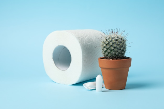 Toilet paper, cactus and candles on blue, close up Premium Photo