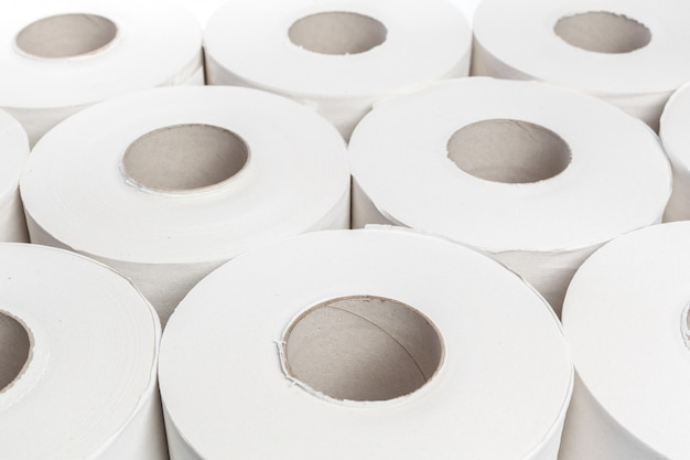 Toilet paper on white background Premium Photo