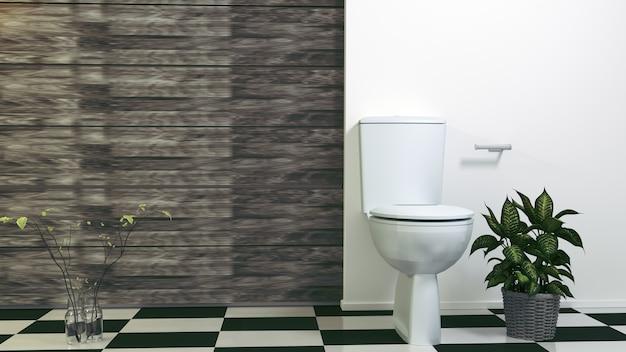 Toilet Seat Decoration In Bathroom Interior 3d Rendering