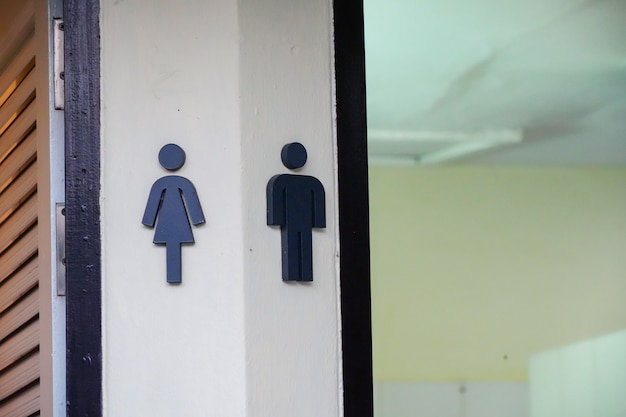 Toilet sign symbol man and woman in hotel. Premium Photo