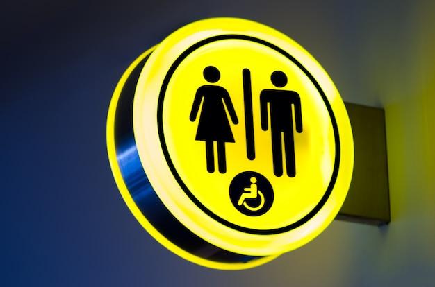 Toilets, wc icon for woman, men. female, male public restroom signs Premium Photo