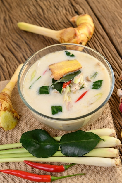 Free Photo | Tom kha kai in a bowl with kaffir lime leaves, lemongrass, red  onion, galangal and chilli.