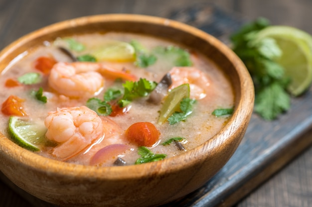 Tom yam kong or tom yum, tom yam is a spicy clear soup typical in thailand Premium Photo