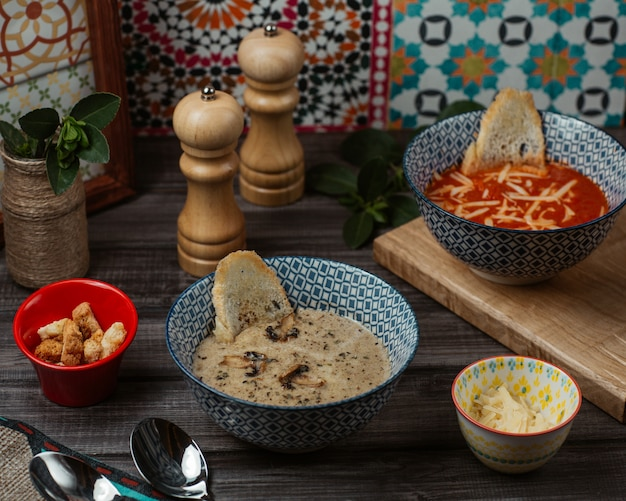 Tomato and mushroom soups with bread cracker and herbs Free Photo