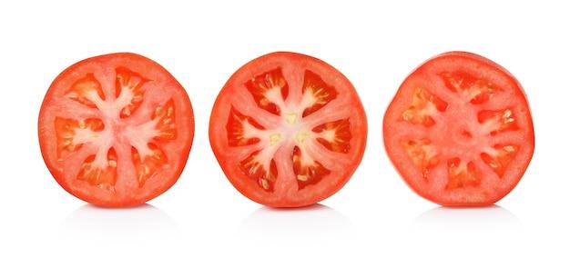 Tomato slice isolated on white background Premium Photo