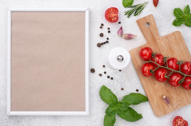 Tomatoes on wooden bottom on table Premium Photo