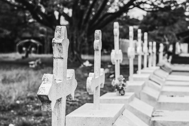 Tombstones in cemetery Premium Photo
