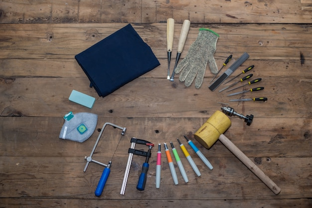 Tools collection top view Free Photo