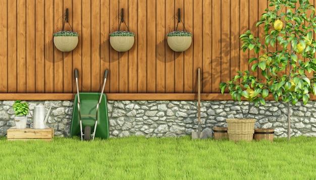 庭でガーデニングするためのツール Premium写真