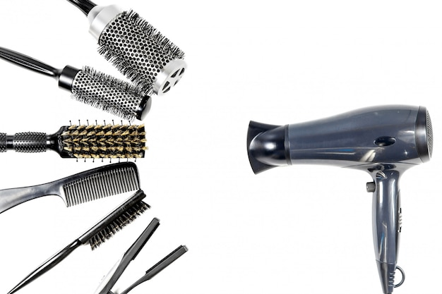 Tools hairdresser's top view on white isolate Premium Photo