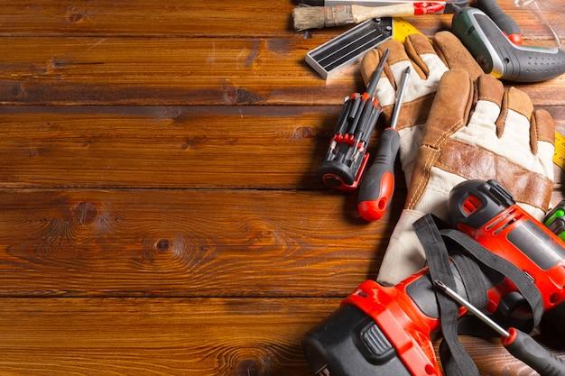 Tools on table shot in studio, top view, Premium Photo