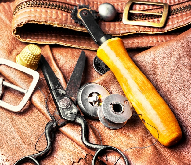 Tools of a tanner for working with leather Premium Photo