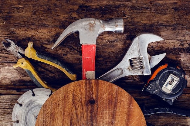 Tools on the wooden table Free Photo