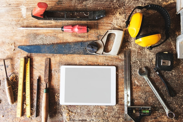 Tools for woodworks with copy space Free Photo