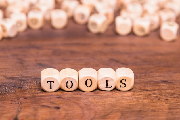 Tools word made with wooden cube Free Photo