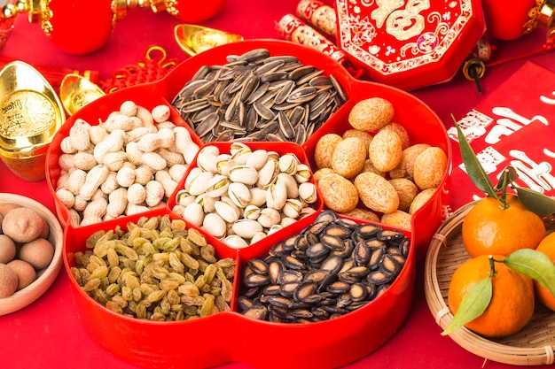 Top view accessories chinese new year festival decorations.chinese  great luck blessing Premium Photo