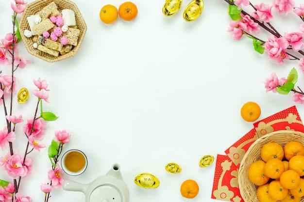 Top view aerial image shot of arrangement decoration chinese new year. Premium Photo