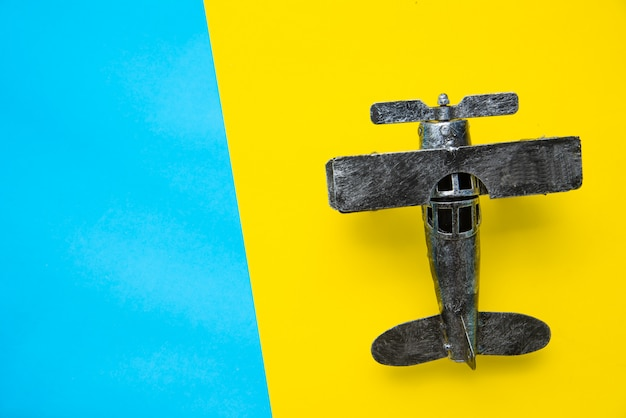 Top view for airplane models on a colorful background. Premium Photo