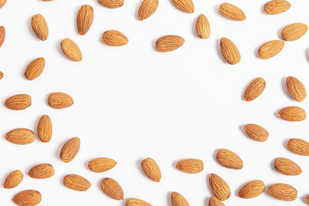 Top view of almonds frame Free Photo