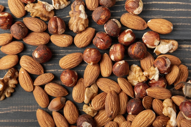 Top view of almonds with hazelnuts and walnuts Free Photo