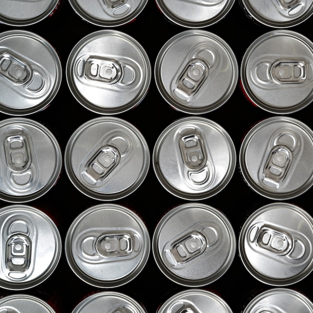 Top view, aluminium cans with a drink Premium Photo