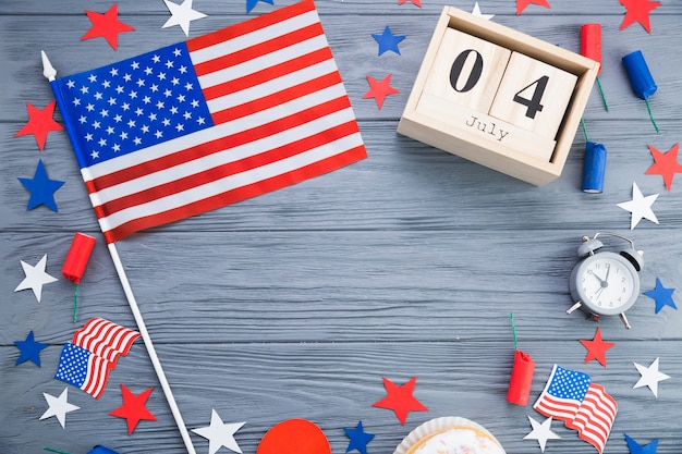 Top view of american independence day decorations Free Photo