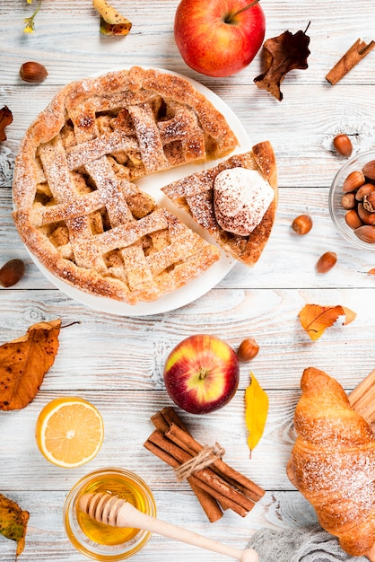 Top view of appetizing breakfast Free Photo