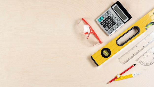 Top view of architect desk with tools Free Photo