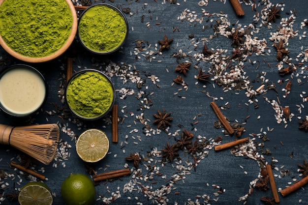 Top view arrangement of asian tea matcha ingredients Free Photo