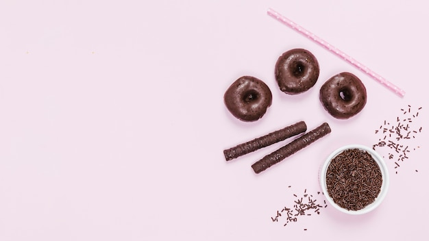 Top view arrangement with chocolate delicacies Free Photo
