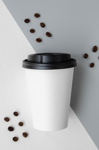Top view arrangement with coffee cup mock-up Free Photo