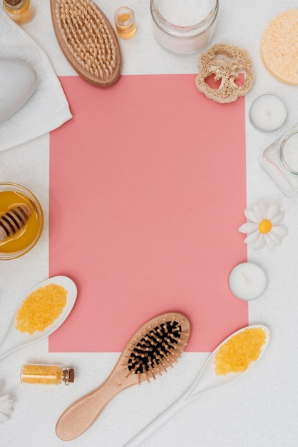 Top view arrangement with healthcare products and copy-space Free Photo