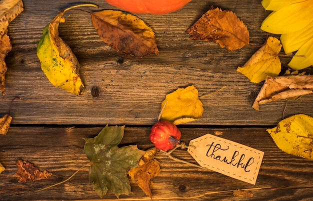 Top view arrangement with leaves on wooden background Free Photo