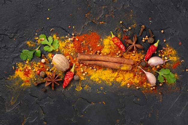 Top view asian food ingredients mix Free Photo