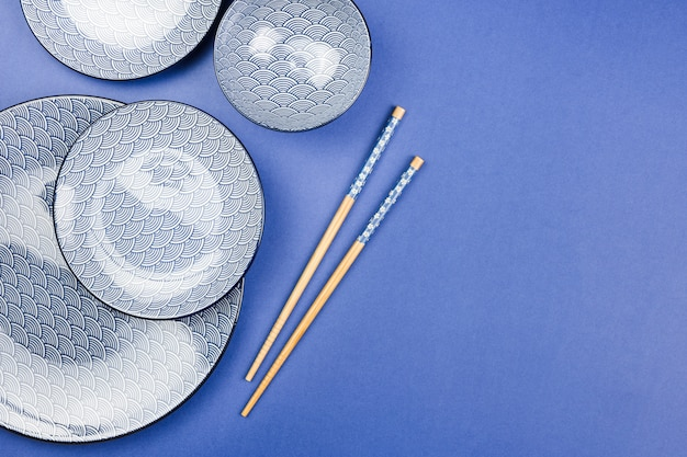 Top view of asian tableware Free Photo
