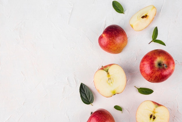 Top view assortment of apples with copy space Premium Photo