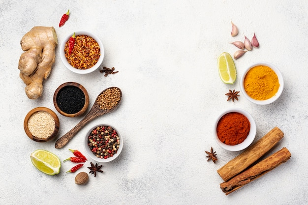 Top view assortment of asian food spices Free Photo