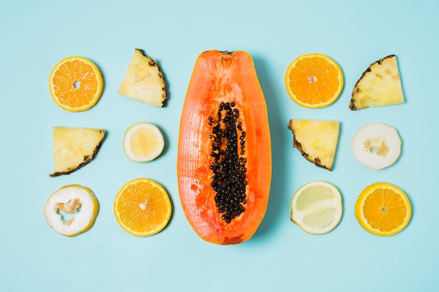 Top view assortment of exotic fruits on the table Free Photo
