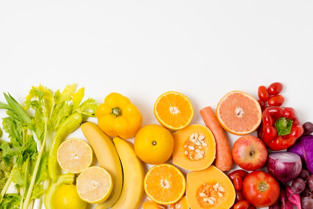 Top view assortment of fresh fruits with copy space Free Photo